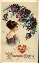 St. Valentine's Greeting - With Victorian Woman and Violets