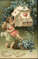 Love's Message to My Valentine - with Cherubs and Flowers