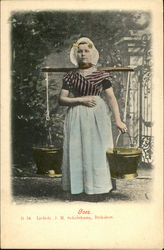 Girl in Native Costume Carrying Water Buckets