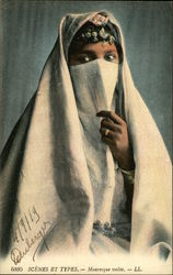 Woman With Head Scarf and Covered Face
