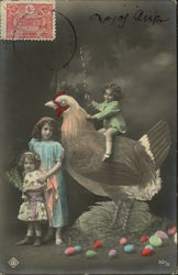 Little Girl in Green Dress Sits on Giant Chicken Surrounded by Easter Eggs