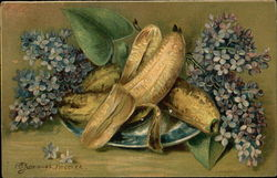 Still Life of Plate with Peeled Banana and Lilacs