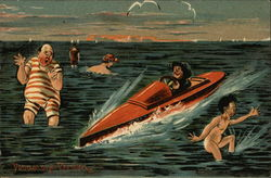 Man in Red Speedboat Rides by Naked man and Large Man in Red and White Striped Bathing Suit