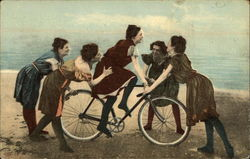 Woman on Bicycle Surrounded by Four Other Women