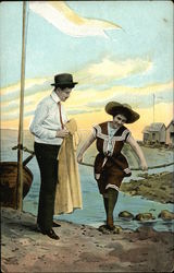 Man in White Shirt and Black Pants Holds Yellow Jacket for Woman in Vintage Bathing Suit