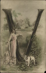 Lady in Pink Gown, Dog and 'V'