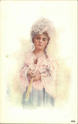 Little Girl in Pink Wearing Powdered Wig