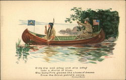 Scout and Indian in Canoe Postcard