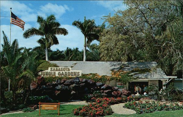 Main Building And Entrance Display Sarasota Jungle Gardens Florida