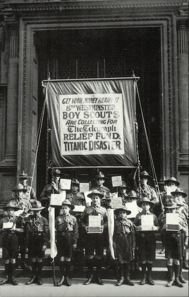 Boy Scouts of the 8th Westminster London Troop Collecting for the Titanic Disaster Relief Fund
