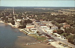 Aerial of Lake City, Michigan, on Lake Missaukee