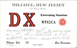 DX Listening Station WPE2CA Postcard
