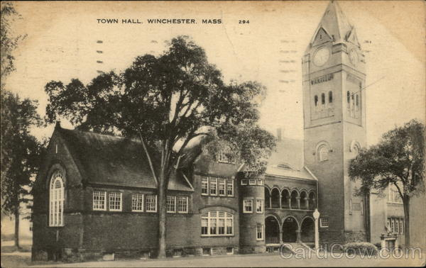 Town Hall and Clock Tower Winchester Massachusetts