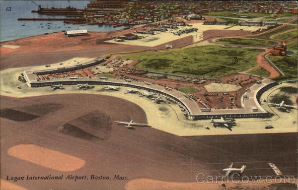 Aerial View of Logan International Airport Boston Massachusetts