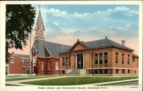 Public Library and Universalist Church Claremont New Hampshire