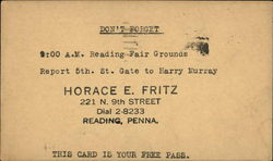 Invite to Horace A Fritz Event