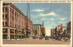 Hollywood Boulevard, Looking East from Warner Brothers Theatre Postcard