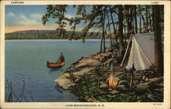 Campsite and Canoe on the Lake