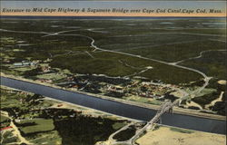 Entrance to Mid Cape Highway & Sagamore Bridge over Cape Cod Canal