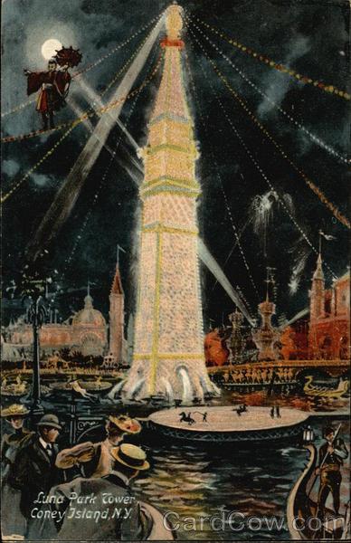 Luna Park Tower at Night Vintage Post Card