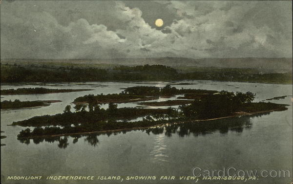 Moonlight, Independence Island showing Fair View Harrisburg Pennsylvania