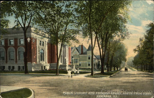 Public Library and Fremont Street South from First Kewanee Illinois