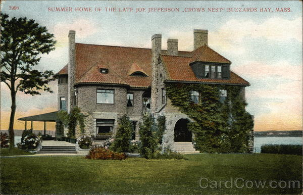 Summer Home of the Late Jof. Jefferson, Crow's Nest Buzzards Bay Massachusetts