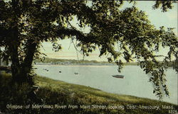 Glimpse of Merrimac River from Main Street, looking East