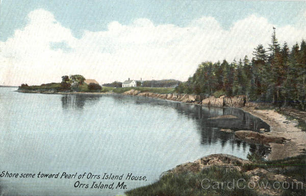 Shore Scene Toward Pearl Of Orrs Island House Maine