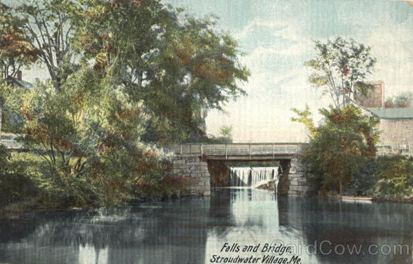 Falls And Bridge Stroudwater Village Maine