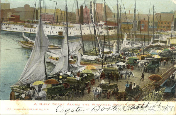 A Busy Scene Along The Wharves Baltimore Maryland
