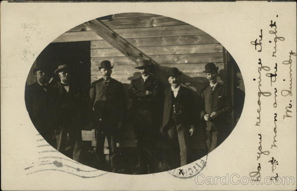 Six Men Posing By Side of Building, RPO