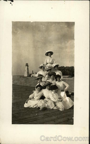 Women in White, in Front of Light House