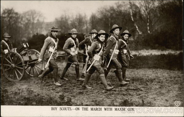 Boy Scouts on the March with Maxim Gun