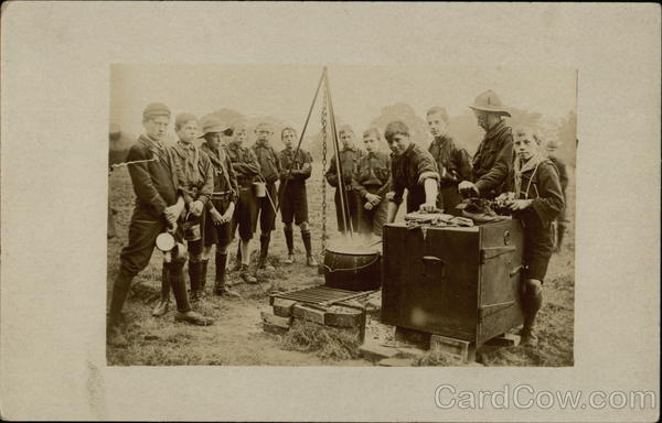 Boy Scouts Cooking Meal