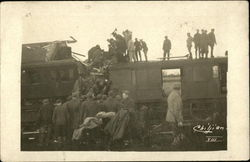 People Gathered Around Train Wreck
