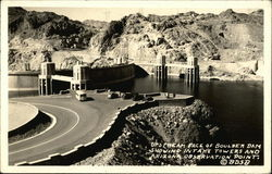 Upstream Face of Boulder Dam Showing Intake Towers and Arizona Observation Point