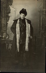 Portrait of Man in Fur Hat and Fur Trimmed Coat
