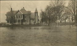 Flooded streets in Hatfield Massachusetts, 1927