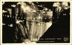 Night Construction Upstread Face of Boulder Dam Postcard