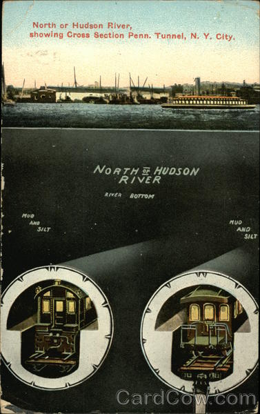 North or Hudson River Showing Cross Section Penn. Tunnel New York City