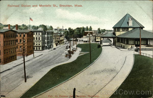Railroad Station and Montello St. Brockton Massachusetts