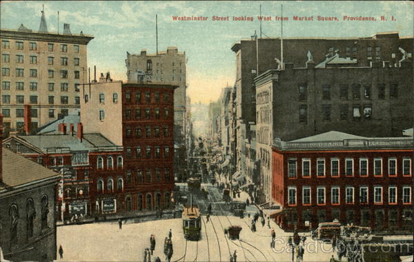 Westminster Street Looking West from Market Square Providence Rhode Island