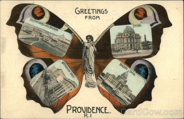 Greetings from Providence Butterfly Rhode Island Multi Views