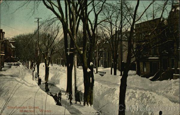 Sherbrooke Street in Winter Montreal Canada Quebec