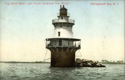 Hog Island Shoal Light House Southwest from Bristol Postcard