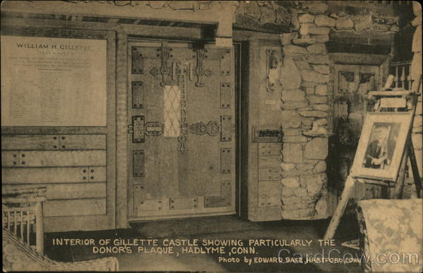 Interior of Gillette Castle, With Donor's Plaque Hadlyme Connecticut