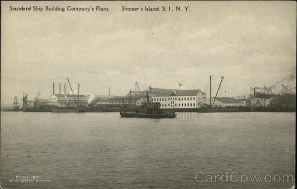 Water View of Standars Ship Building Company's Plant Shooter's Island New York