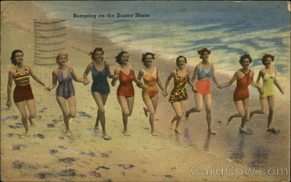 Young Women Running on Beach Swimsuits & Pinup