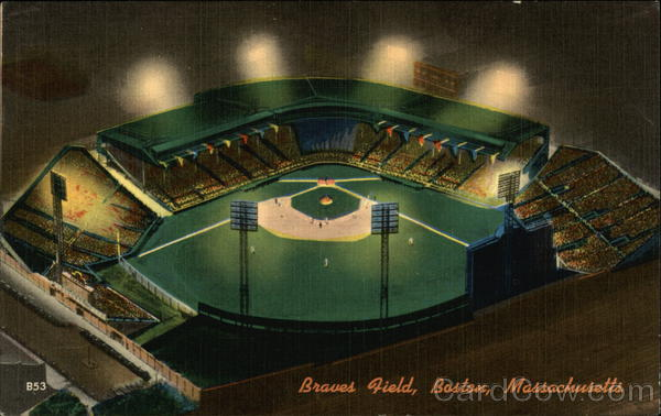Aerial View of Braves Field at Night Boston Massachusetts